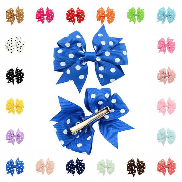 Fashion Cute Hair Bowknot Hairpins Duckbill clip Boutique Hair Clips Bows Kids Headwear Accessories 20 Colors D494Q