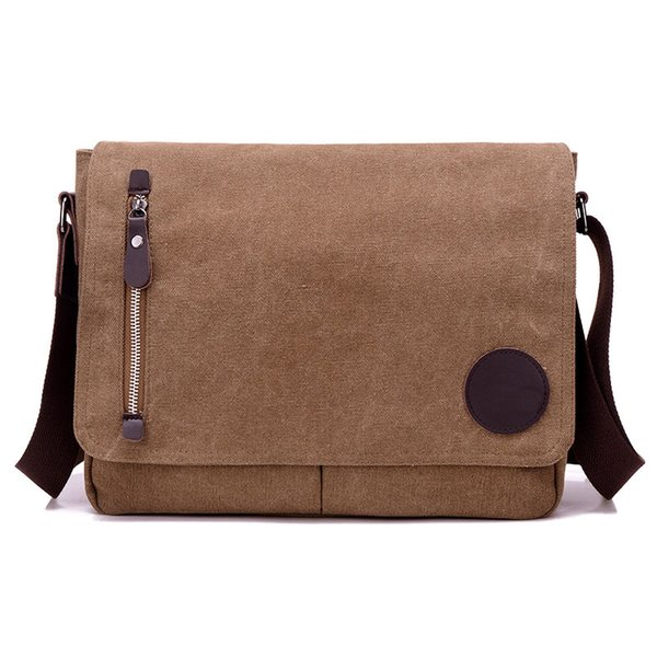 Canvas Casual&Business Bag Men's Messenger Bag Cross Body Shoulder Bags Zipper Flap Satchel Pack