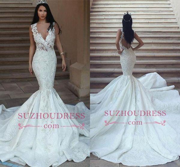 Dubai Arabic 2018 Mermaid Wedding Dresses Deep V Neck Lace Applique Open Back Court Train Wedding Dresses Bridal Gowns vestidos de novia