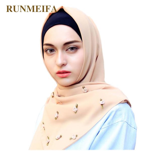 Embroidered flowers scarf Muslim hijab chiffon scarfs for ladies Bufandas women brand luxury muffler shawl islamic headscarf