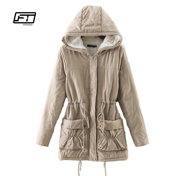 Fitaylor Winter Women Jackets Cotton Padded Medium Long Slim Hooded Parkas Casual Wadded Quilt Snow Outwear Warm Overcoat S18101506