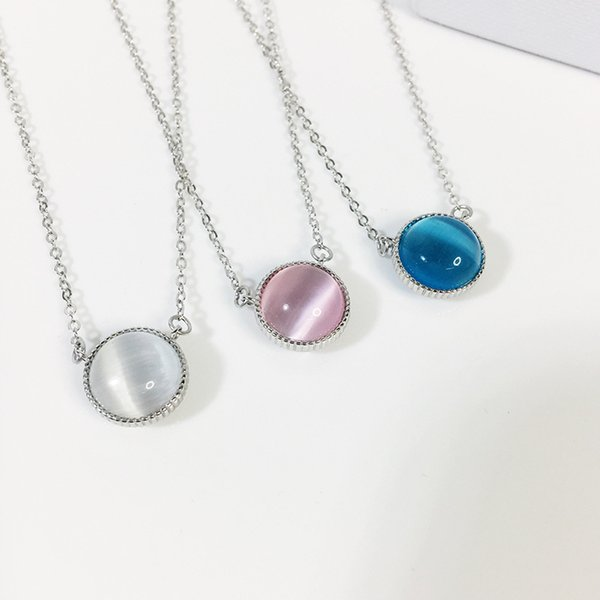 Opal Stone Pendants Necklaces Sterling Silver 925 Fashion Rose Gold Chain Double-Sided Choker Necklace Bohemian Jewelry for Women