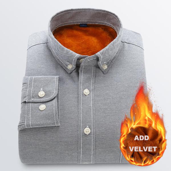 Nouveau Mode Oxford Hommes Chemise Haute Qualité Ajouter Velours Hommes Chemise À Manches Longues Plus La Taille 4xl Gardez Au Chaud Hommes Chemises Casual Slim Fit