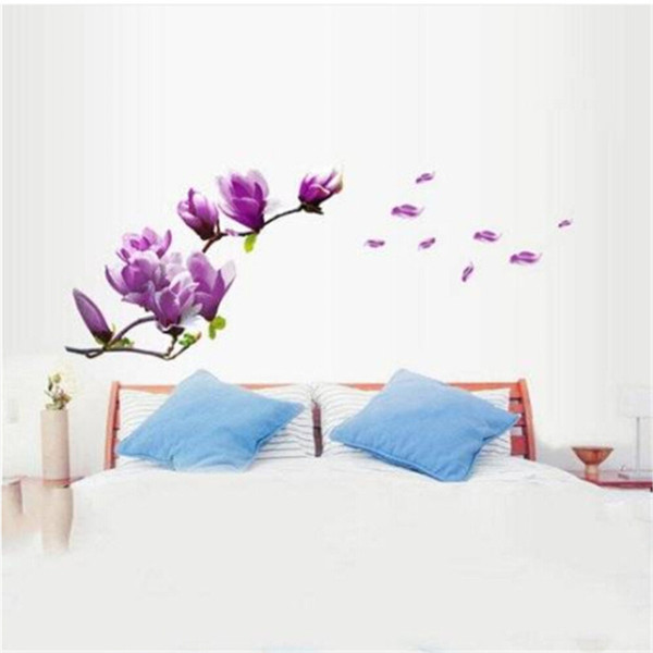 2018 wholesales magnolia pattern removable wall stickers for bedroom backdrop tv