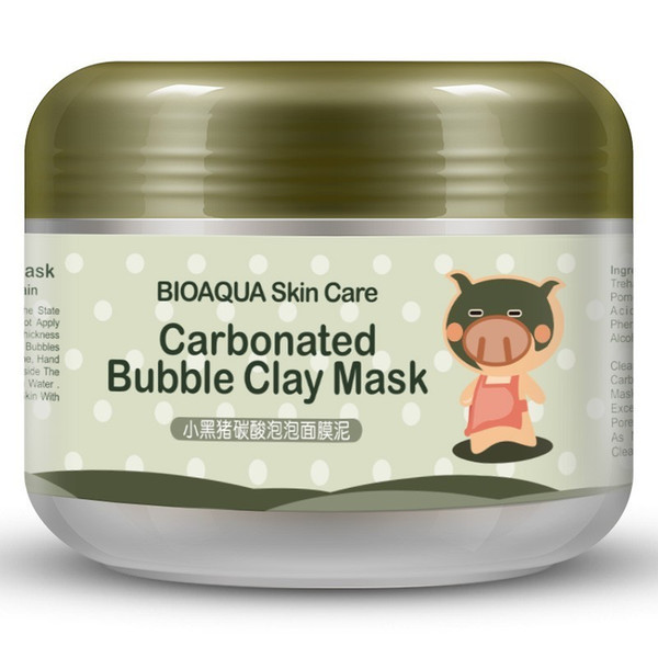 BIOAQUA Facial Mask Kawaii Black Pig Carbonated Bubble Clay Mask Winter Deep Cleaning Moisturizing Skin Care 100g