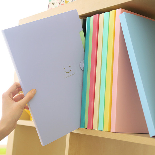 top popular New 4 Color A4 Kawaii Carpetas Filing Supplies Smile Waterproof File Folder 5 Layers Document Bag Office Stationery 2021