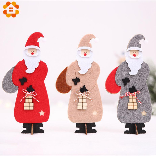 1PCS DIY Christmas Felt Cloth Santa Claus Wooden Pendant Ornaments 3 Colors Wood Crafts For Xmas Tree Christmas Party Decoration Y18102909