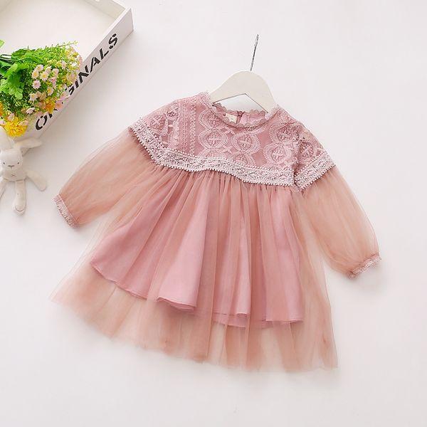 Sweet Girls Lace Gauze Dresses Spring Fall 2018 Kids Boutique Clothing Korean 1-4T Little Girls Long Sleeves Veil Princess Dresses