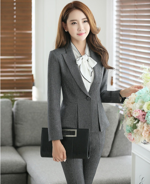 Plus Size 4XL Elegant Gray Professional Pantsuits For Womens Business Work Wear Formal Jackets And Pants Ladies Trousers Set