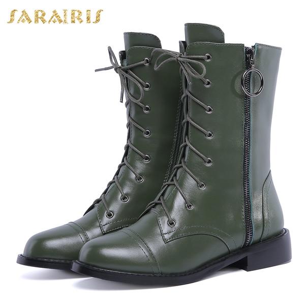 4bb74f1b7 SARAIRIS Novo Couro Genuíno plus Size 33-40 Couro de Vaca Zip Up Botas  Sapatos