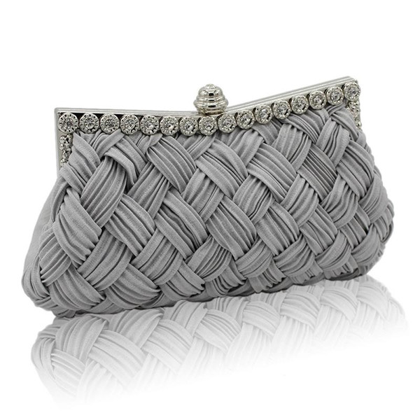 Baellerry 2018 Women's Evening Rhinestone Bags Exquisite Embroidered Top-handle Bags Wedding Bridal Braided Purse Clutch Handbag