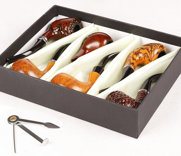 Wooden Smoking Pipe Set Wood Color Pipes Kit 6 pcs With Retailed Box and Smoking Accessories