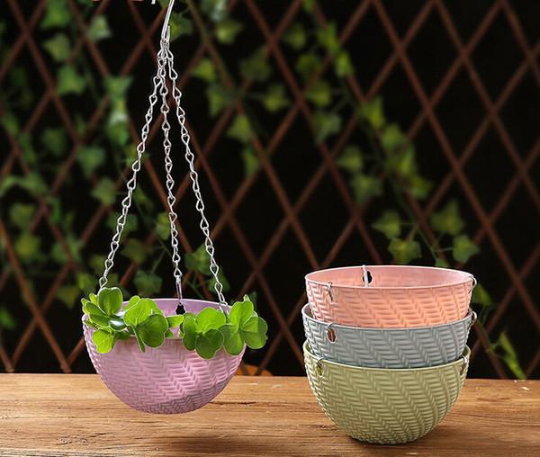 Criativa vaso de plantas de vime Multi-grão verde cesta cesta vaso de flores Jardinagem em vaso pendurado caixa de flores de plástico atacado