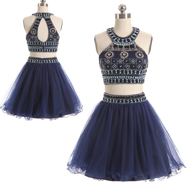 Wholesale halter simple dress Exposed Boning formal dress a line Prom Dresses with short length CYH0000SH0121