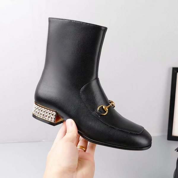 New Arrival Girls Designer Ankle Boots Martin Fashion Ladies Knight Motorcycle Short Winter Shoes Diamond Heel High Quality Genuine Leather