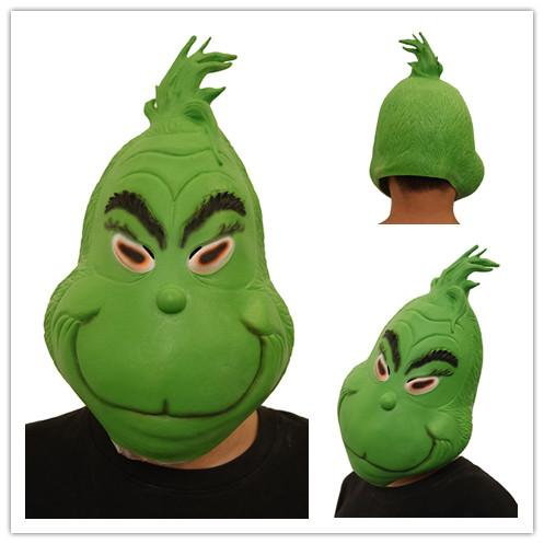 Christmas Full Head Masks The Grinch Mask Cosplay 3D Print Costumes Funny How the Grinch Stole Christmas Latex Green Mask Children Face Toys