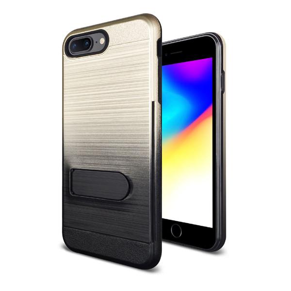 Für iphone x 7 7 plus 6 6 plus samsung galaxy s9 s9 plus kartensteckplatz rückseitige abdeckung mit kickstand tpu pc case oppbag