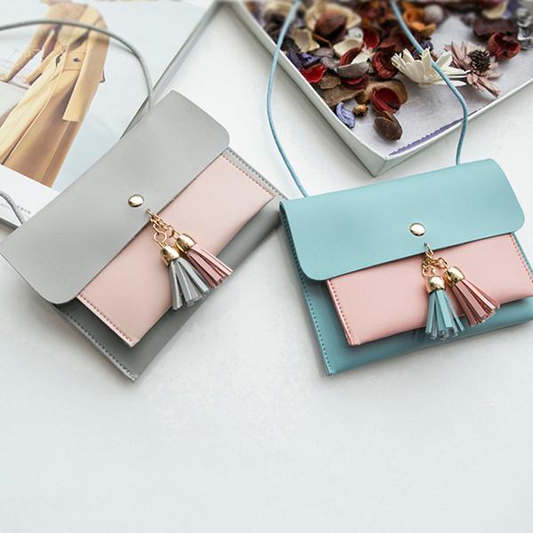 Women Fashion Double Deck Cover Pure Color Leather Tassels Crossbody Bag Shoulder Bag Phone Bag p#dropship