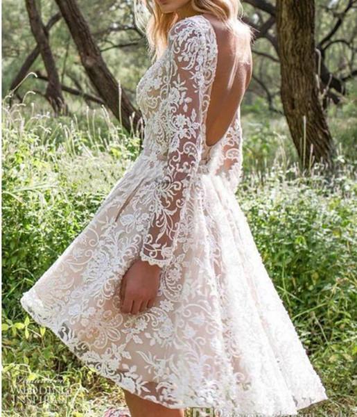 Limor Rosen 2019 Nuevos vestidos de novia de manga larga con tren desmontable Modesto sin respaldo Dos en uno Vestido de novia bohemio corto de playa