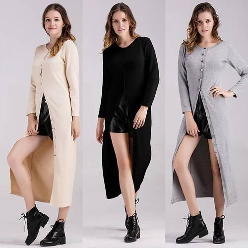 Women's Dress Long Sleeve O Neck Solid Color Cozy Maxi Long Dress Apricot Black Grey Color Casual Dress Apparel Open Front Clothing