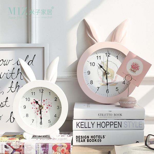 Desktop Clock home White Creative Rabbit Ear Wooden Wall Quartz Watch Art Home Decor stickers wall Watches for Girl Women