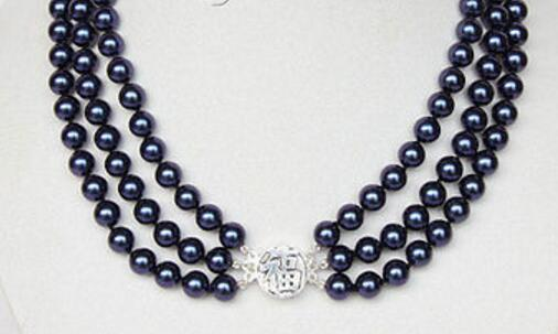 3row 8mm round navy blue sea shell pearls necklace 925 silver clasp
