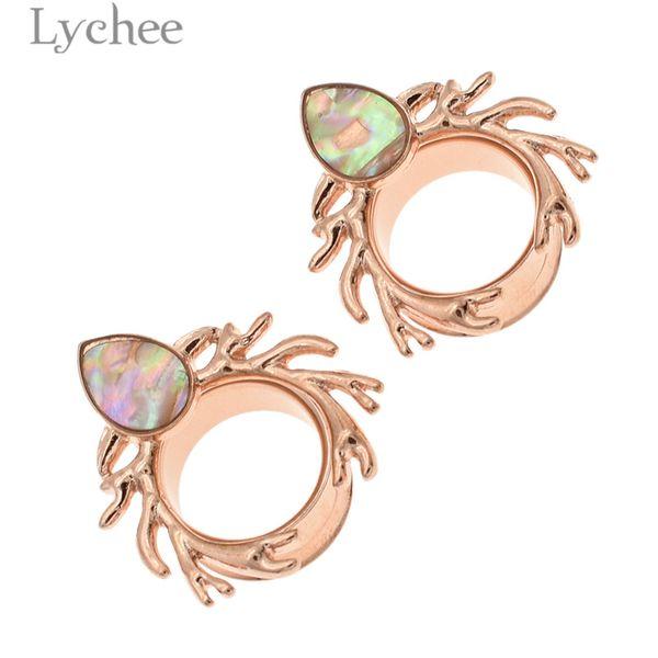 Lychee Trendy 1pair Stainless Steel Antler Shell Earring Piercing Expander Ear Gauges Expander Ear Dilator Extension Jewelry