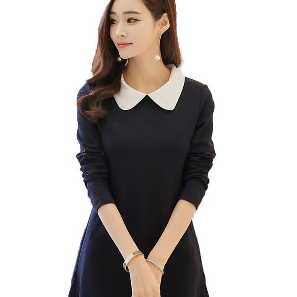 Women's Long Sleeve Dress 2017 Spring Autumn Fitted New Peter Pan Collar Dress A-line dress Cute Knee-length Women Dresses