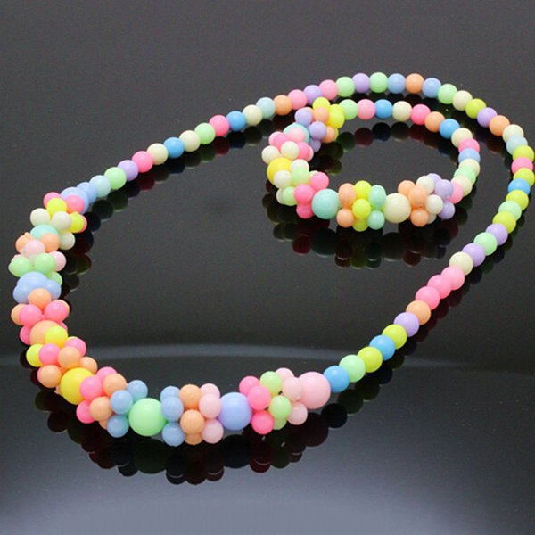 best selling MIX Cute Kids Girls COLORFUL Necklace Bracelet Children Jewelry Sets Candy Colors
