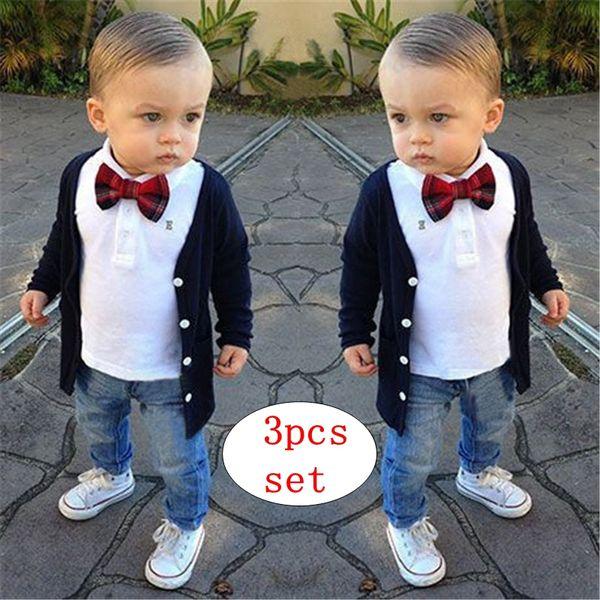 Meninos Cavalheiro 3 PCS roupa Camisa Branca + Casaco + calças jeans para 2-7 T Crianças Meninos Bow Tops + Calças Traje