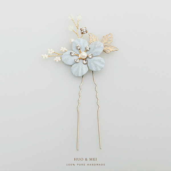 Bride Headwear Blue Flower Hair Comb Pearl U Type Hair Pin Woman System Flower The Wedding Insert Fashion C127/128 3pieces/set