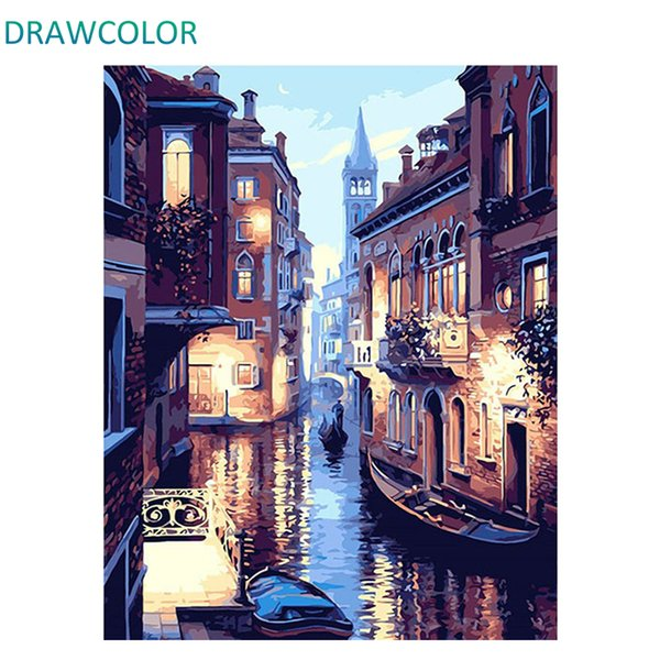 DRAWCOLOR Frame DIY Painting By Numbers Kits Venice Night Landscape Hand Painted Oil Paint By Numbers Unique Gift For Home Decor