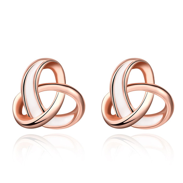 Fashion K Gold Rose Gold Love Celtic Knot Cross Bow Stud Earrings Twisted Ear Studs Piercing Jewelry for Women,Girls Party Dating Office