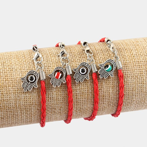 Dropshipping 6pcs Palm Hamsa With Colorful Turkish Eye Red Braided Leather Cord Bracelets Bangle Lucky Eye Charm Amulet Jewelry