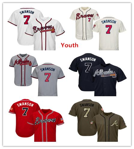 check out ff7ca d285c 2019 Youth Kids Child Braves 7 Dansby Swanson Baseball Jerseys White Navy  Blue Cream Red Grey Gray Salute To Service Players Weekend All Star From ...