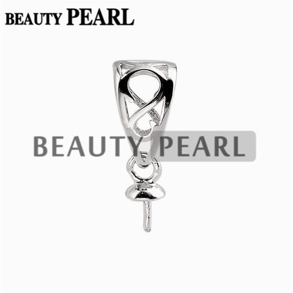 10 Pieces Pendant Bail Pearl Mounting Fine Jewelry DIY Silver Connector Small Charm 925 Sterling Silver