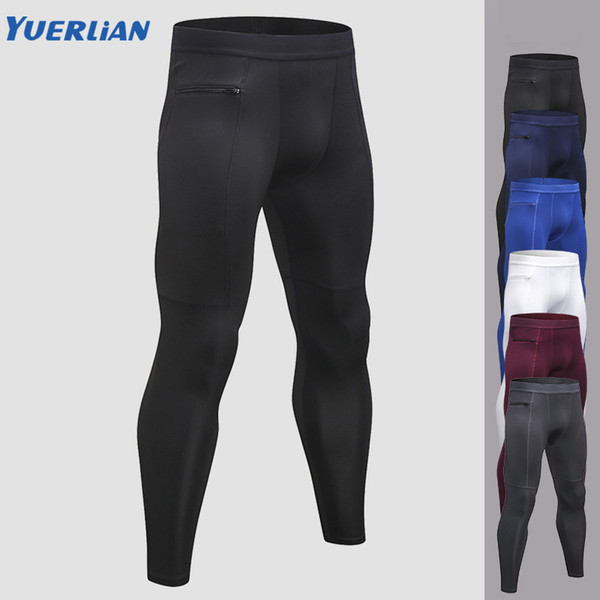 New Popular Zipper Pocket Men Trousers Quick Dry Men's Sports Running Pants Fitness Bodybuilding Compression Tight Pants