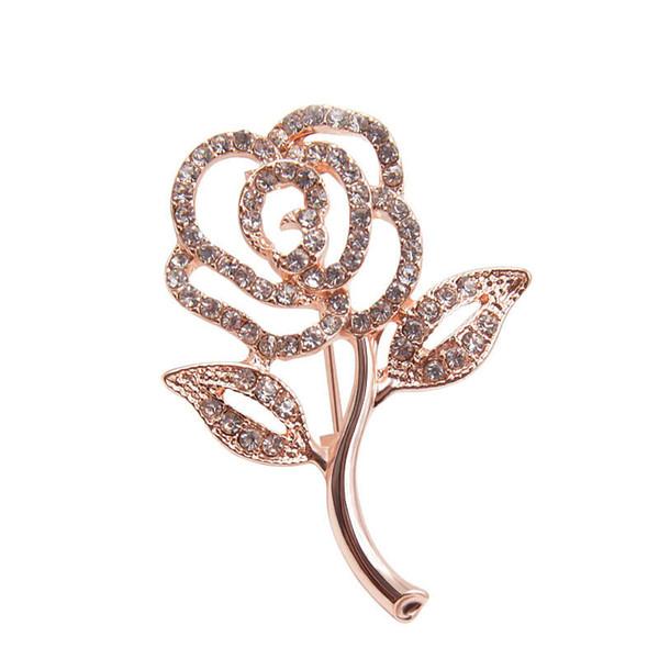 Strass Blume Broschen für Frauen Einfache Design Kleid Mantel Anzug Brosche Bijouterie Schmuck Mode-Accessoires BR0374