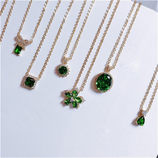 Vintage Natural Emerald Necklace Pendants For Women 100% 925 Sterling Silver Green Gemstone 18K Gold Clavicle Chain Fine JewelryY1883008