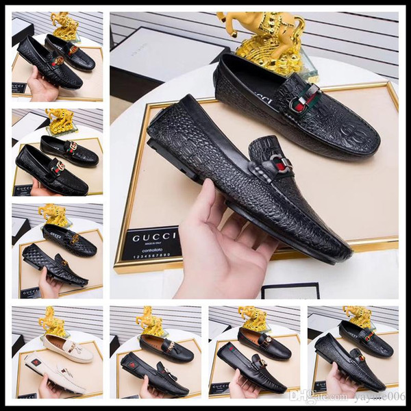 Best Style Brand Men casual cow leather office work flat business dress Gommino driving moccasins shoe print canvas horsebit loafers flats