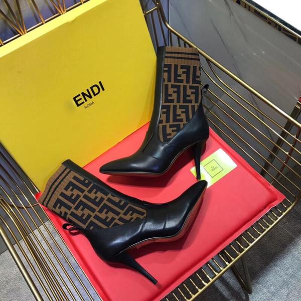 2018 designer de luxe de la mode femmes tricotant chaussette bottes Pointu haut talon de la cuisse moyenne de marque 9.5cm F femmes cuisse tube moyen respirant bottes élastiques