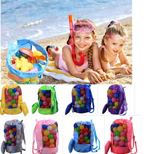 Kids Beach Sand Toys Receive Bags Outdoor Portable Seashell Backpack Children Mesh Sandboxes Pouch Shoulder Bags for Children Boys Girls