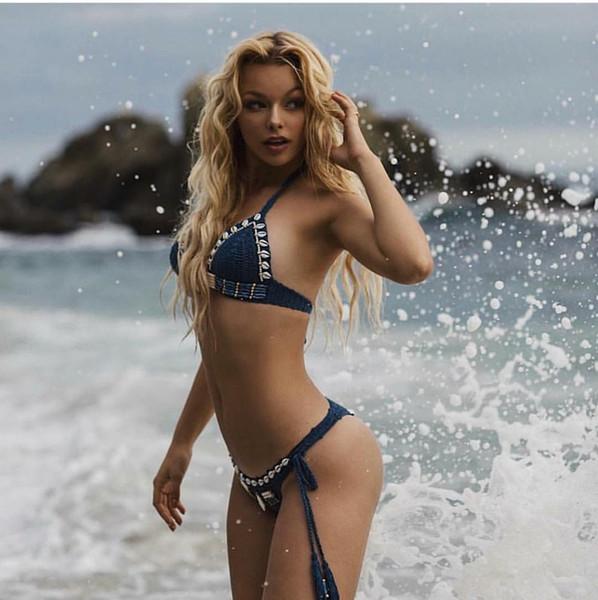 Azul Menina Mão Biquíni De Malha Set mulheres designer de moda praia swimwear terno Nova Moda vendas quentes explosões Biquíni Mulheres Moda Sexy Swimsuit