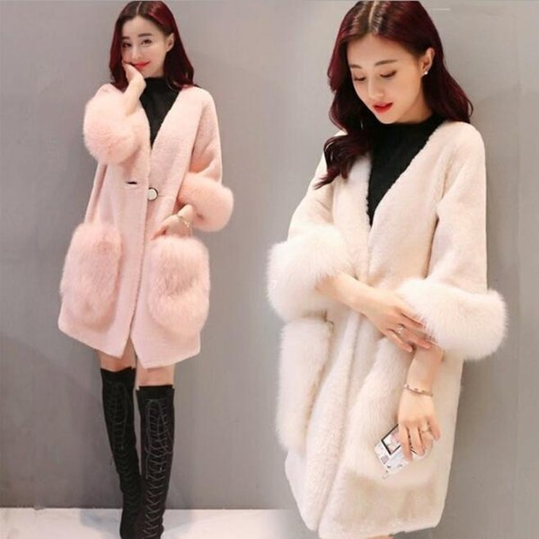 faux fur imitation cashmere coat medium style imitation sheep shearing fur overcoat women's coats winter fashion casual overcoat