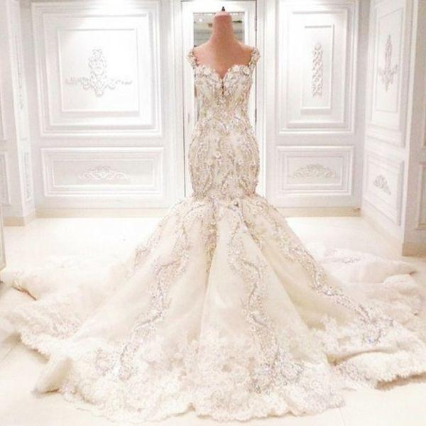 Incroyable Dubai Robes De Mariée Sirène De Luxe Cristal Strass Sweetheart Dentelle Appliques Robe De Mariage Magnifique Arabie Saoudite Robe De Mariage
