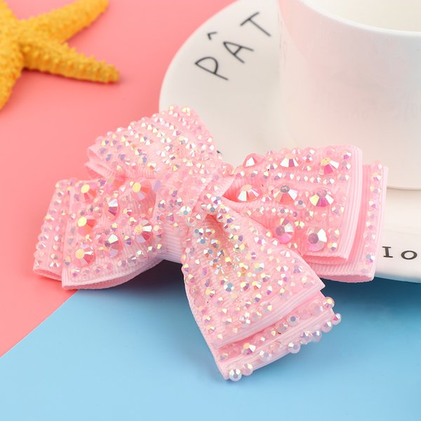 1 Pcs Classical Kid Hair Accessories Lovely Bling Hair Barrette With Flower Grosgrain Ribbon Clip Girl Bow With Rhinestone