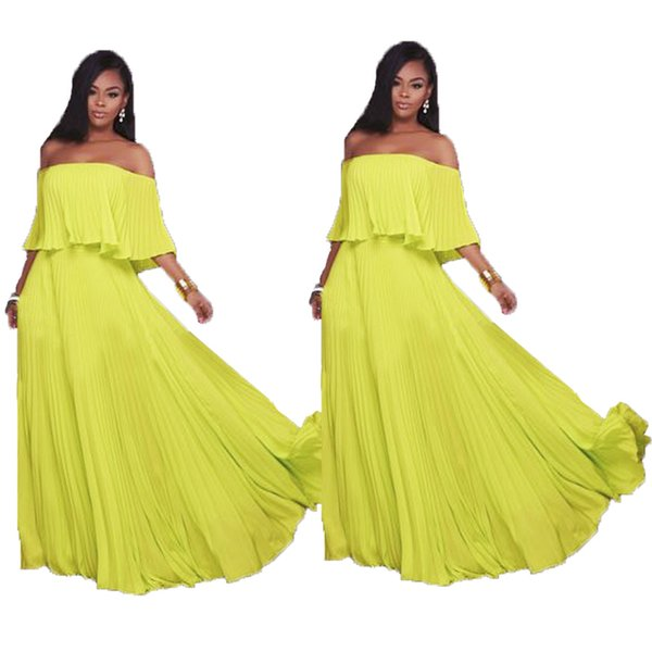 Free shipping Maxi Boho Bridesmaid Dresses Long Beach Party Dress Off Shoulder Gown Chiffon Ruffle Off the Shoulder Dress