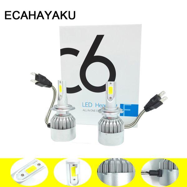 top popular ECAHAYAKU 2pcs Car Headlights 72W 6000K Automobiles Fog Lamp Led Light Bulbs H1 H3 H7 9005 9006 H11 H4 H13 9004 9007 Headlamp 2019