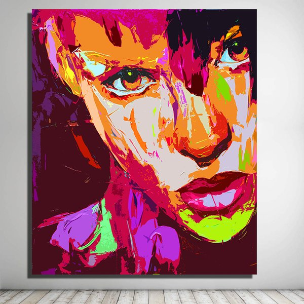 Decoration Pictures Vibrant Palette Knife Portraits Paintings on the Wall Oil Painting for Living Room Pop Art No Framed