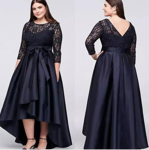 Navy blue Plus Size High Low Mother Of the Bride Groom Dresses With Half Sleeves 2018 Sheer Jewel Neck Lace Women prom Evening Gowns